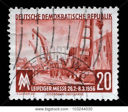 GDR - CIRCA 1960: a stamp printed in GDR shows Leipzig Spring Fair, circa 1960
