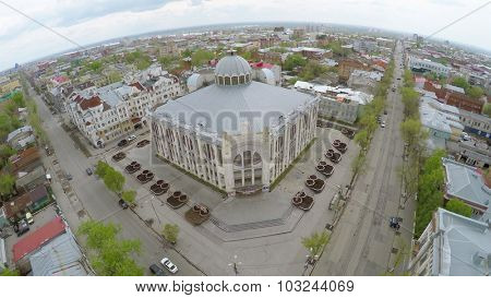 SAMARA - MAY 10, 2015: Townscape with entrance of State Philharmonic of Samara at spring day. Aerial view video frame. Edifice was built in 1975-1988.