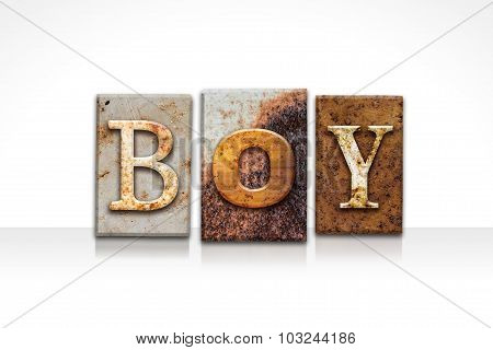 Boy Letterpress Concept Isolated On White