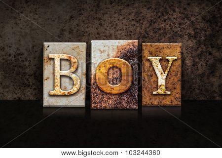 Boy Letterpress Concept On Dark Background