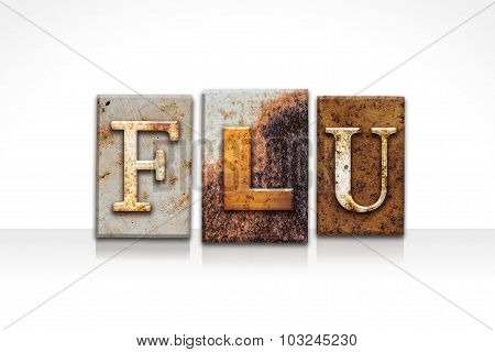 Flu Letterpress Concept Isolated On White