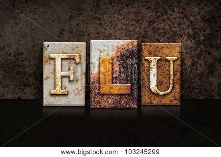 Flu Letterpress Concept On Dark Background