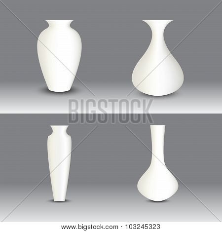 White Vase Set, Vector Object