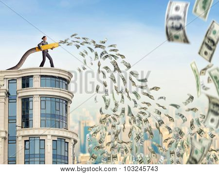Woman on the skyscraper funds dollars