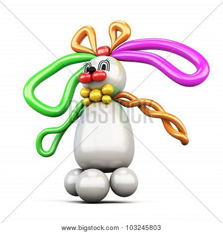 Balloon Animal Bunny Hare Isolated On White Background.
