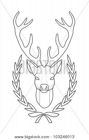 Deer head in laurel wreath. Contour