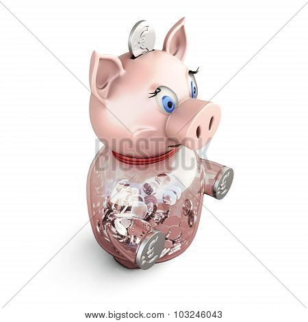 Piggy Bank On A White