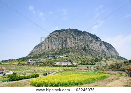 Jeju-do, Korea - April 11. 2015: Sanbangsan Mountain