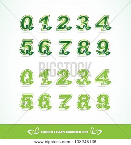 Green Leaf Logo Number Set