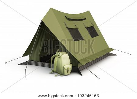 Tourist Tent And Backpack Isolated On White Background.