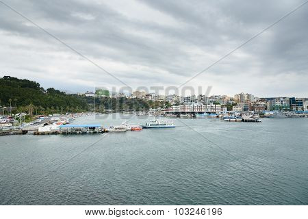 Jeju-do, Korea - April 12, 2015: Whole View Of Seogwipo Port