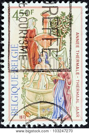 BELGIUM - CIRCA 1973: A stamp printed in Belgium shows Woman Bathing (fresco by Lemaire)