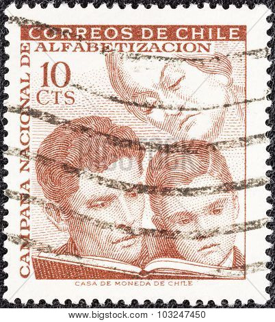 CHILE - CIRCA 1966: A stamp printed in Chile shows learning