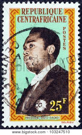 CENTRAL AFRICAN REPUBLIC - CIRCA 1962: Stamp shows President David Dacko