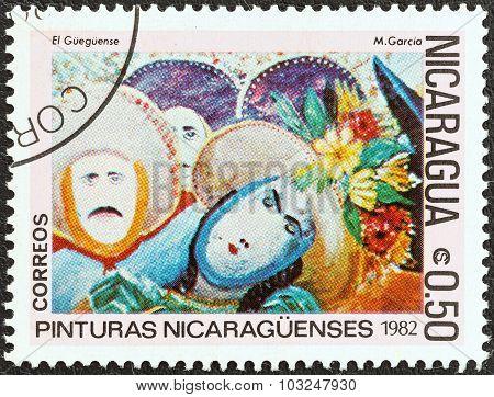 NICARAGUA - CIRCA 1982: A stamp printed in Nicaragua shows El Gueguense (M. Garcia)