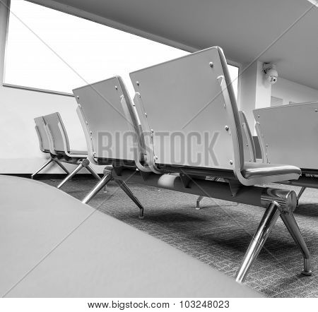 Blank Billboard With Clean Space For Text Message Or Advertising  With Empty Chairs