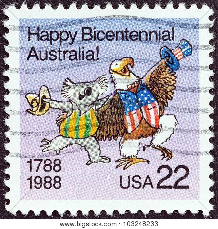 USA - CIRCA 1988: A stamp printed in USA shows Koala and American Bald Eagle