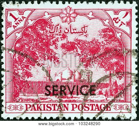 PAKISTAN - CIRCA 1954: A stamp printed in Pakistan shows Badshahi Mosque, Lahore
