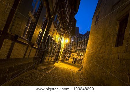 Alleyway in the town of Quedlinburg at night, Germany