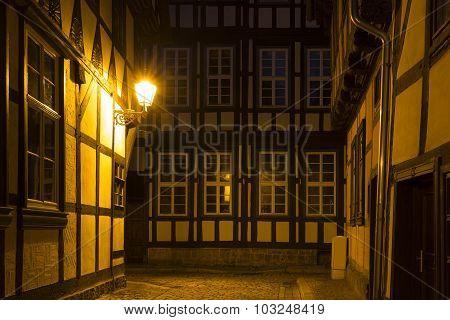 Alleyway in the town of Quedlinburg at night, Germany