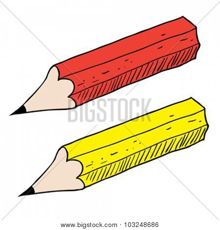 red and yellow pencil cartoon illustration