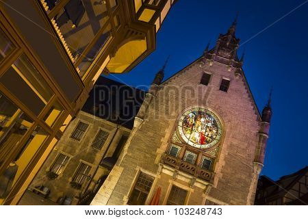 Part of the Quedlinburg townhall at night, Germany