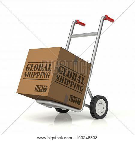 Hand Truck And Global Shipping Cardboard Box
