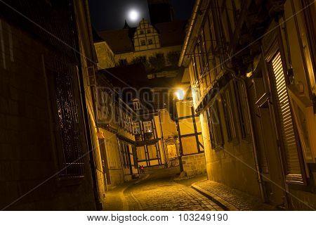 Alleyway in the town of Quedlinburg, Germany, at night