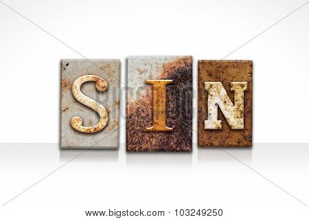 Sin Letterpress Concept Isolated On White