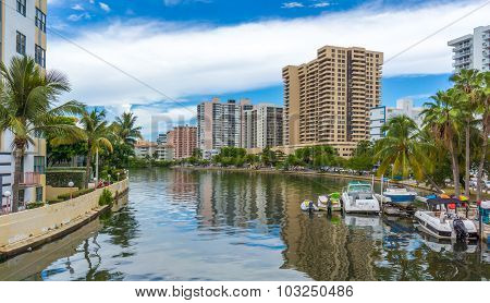 Boats on a waterway in Miami