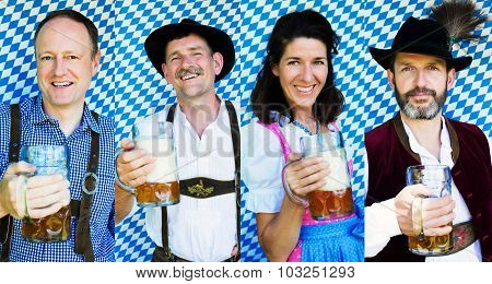 Multiple Faces Of Bavarian People With Beer Mugs