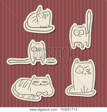 Vintage Paper Funny Cats