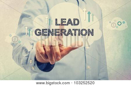 Young Man Pointing At Lead Generation