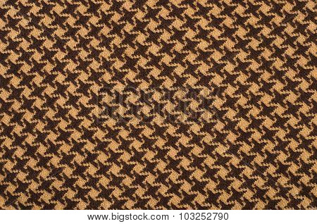 Brown Wool Houndstooth Pattern.