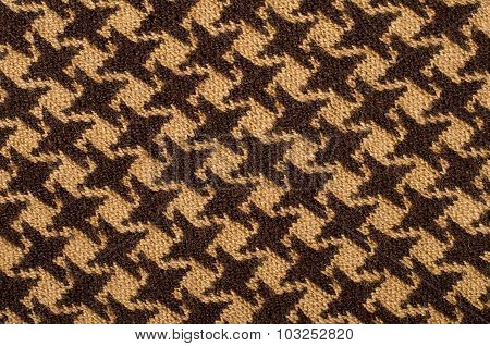 Closeup On Brown Houndstooth Wool Pattern.