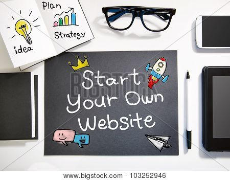 Start Your Own Website Concept With Black And White Workstation
