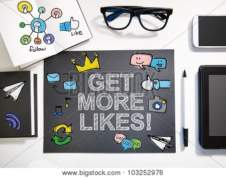 Get More Likes Concept With Black And White Workstation