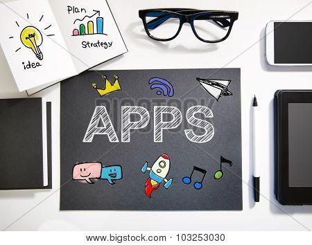 Apps Concept With Black And White Workstation
