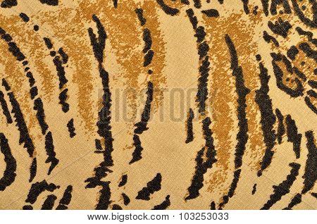 Brown And Black Tiger Fur Pattern.
