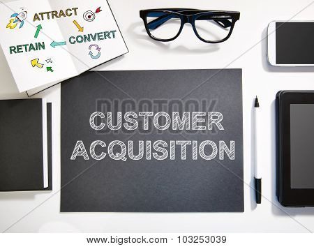 Customer Acquisition Concept With Black And White Workstation