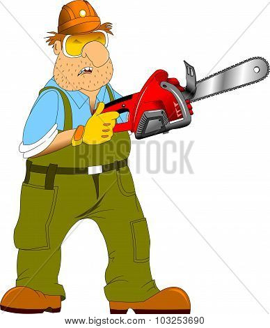 Worker With An Electric Saw