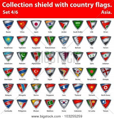 Collection shield with country flags. Part 4 of 6