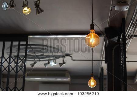Soft shot of retro light lamp in dark tone
