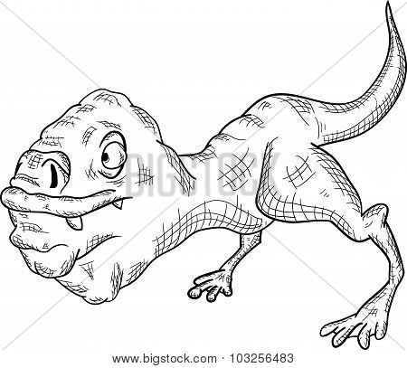 Fictional Animal Monster On A White Background, Vector