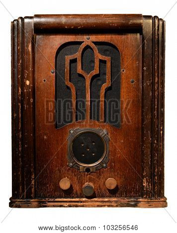 Vintage radio isolated over white background - With clipping path