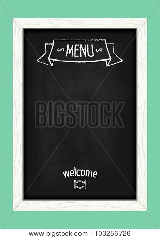 Vertical Menu Chalkboard For Cafes And Restaurants. Realistic Wooden Frame. Vector