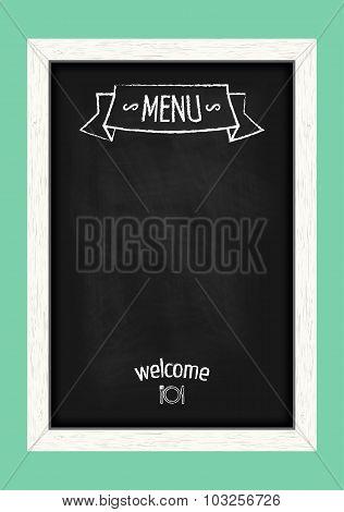 Vertical Menu Chalkboard For Cafes And Restaurants. Realistic Wooden Frame. Vector