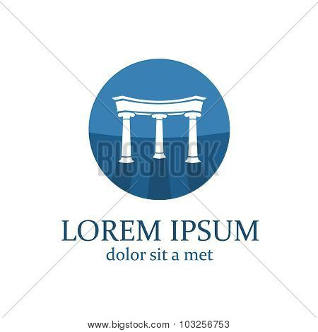 Lawyer Logo Template. Architecture Elements With Columns.