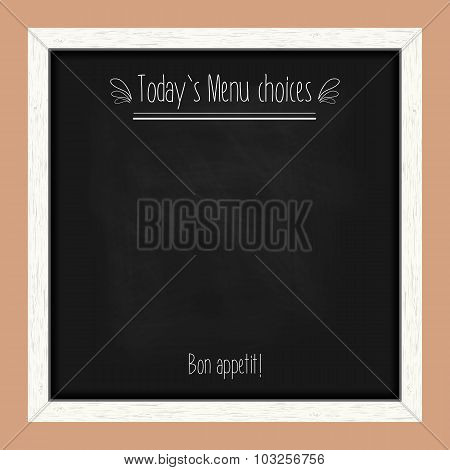 Square Menu Chalkboard For Cafes And Restaurants With An Inscription. Realistic Wooden Frame. Vector