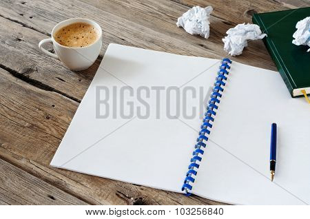 Open Notebook With Empty White Pages